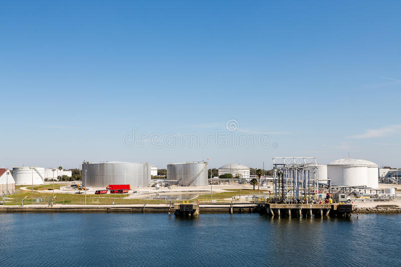 Tanks at Coastal Petroleum Operation stock images
