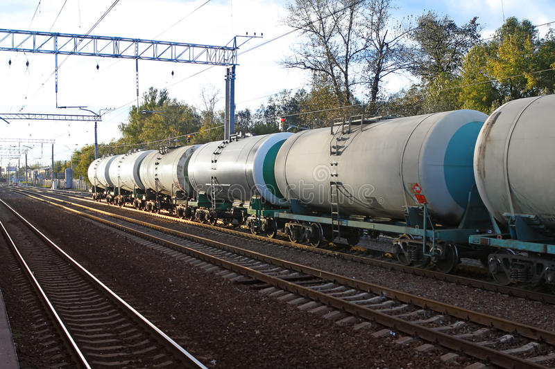 Tanks with fuel by rail royalty free stock photography