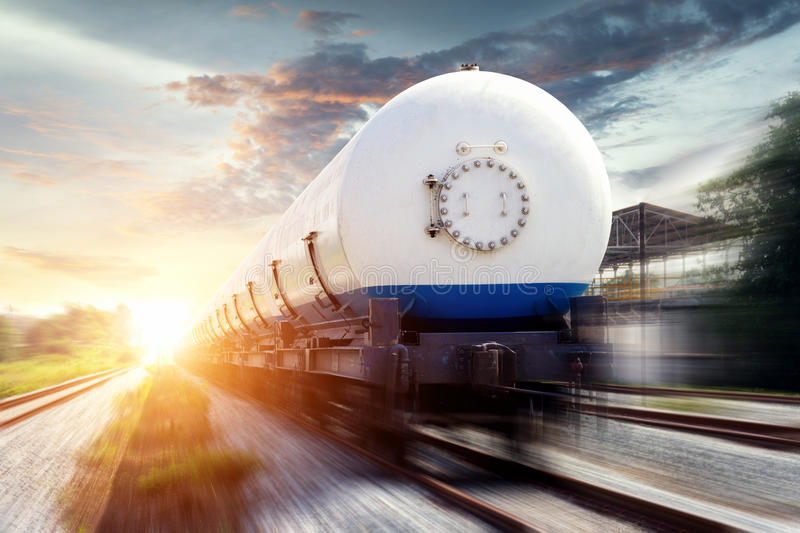 Tanks with gas being transported stock photography