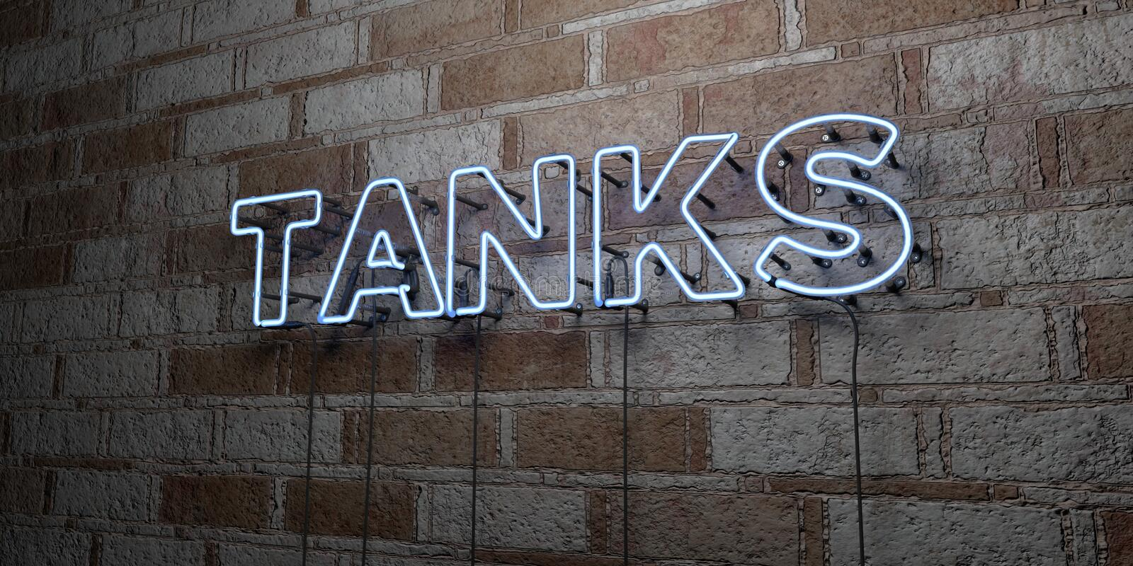 TANKS - Glowing Neon Sign on stonework wall - 3D rendered royalty free stock illustration royalty free illustration