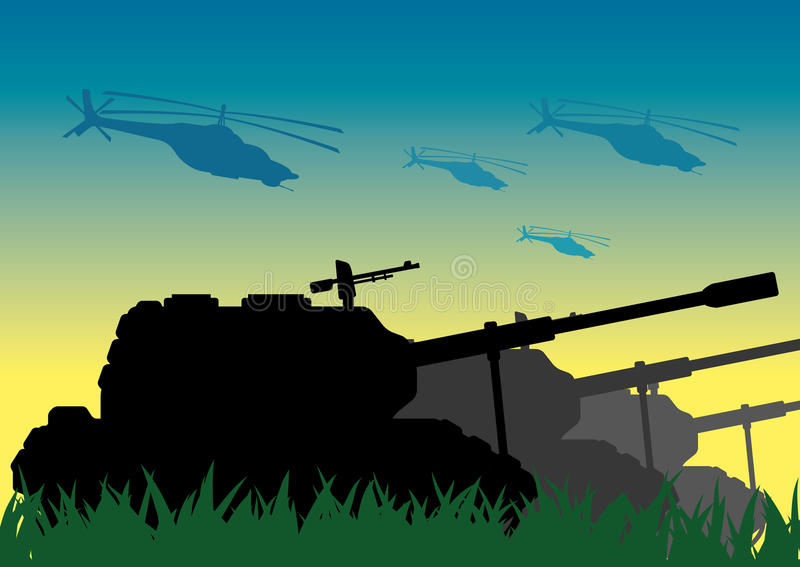 Tanks and helicopters. stock illustration