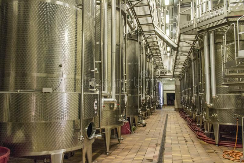 Tanks for making wine in Aosta Valley royalty free stock photo