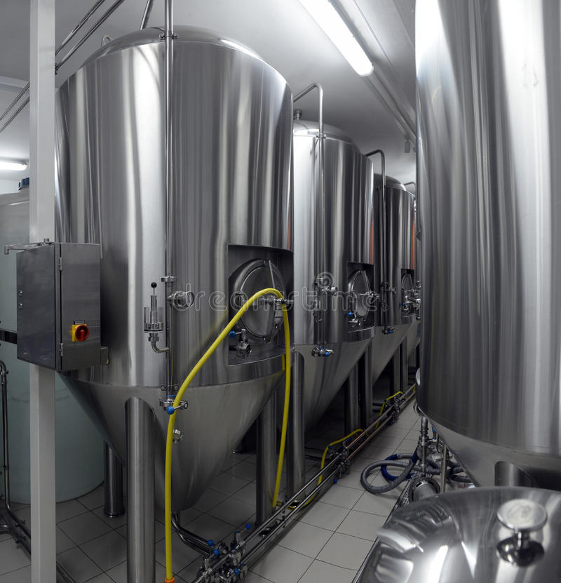 Tanks in microbrewery stock fotografie