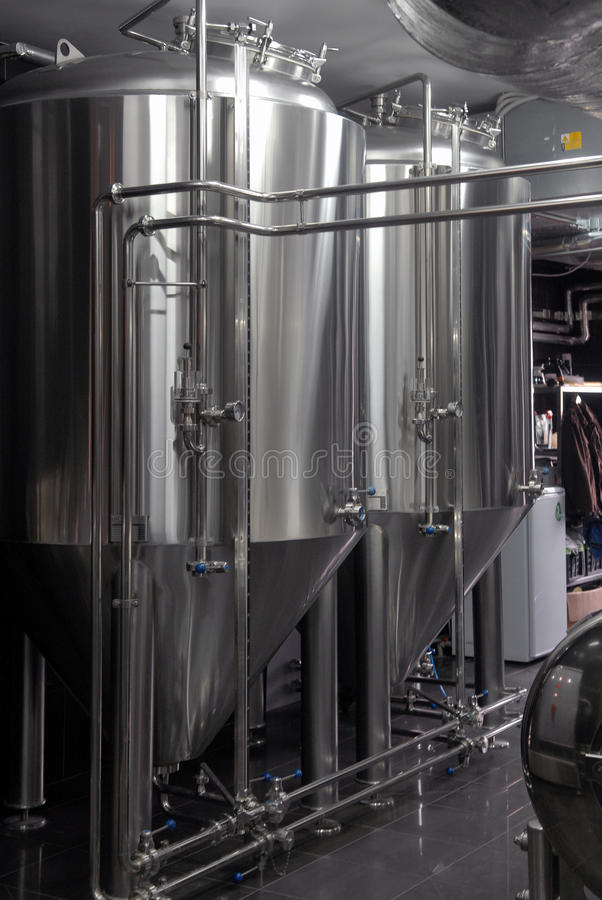 Tanks in microbrewery royalty-vrije stock foto's