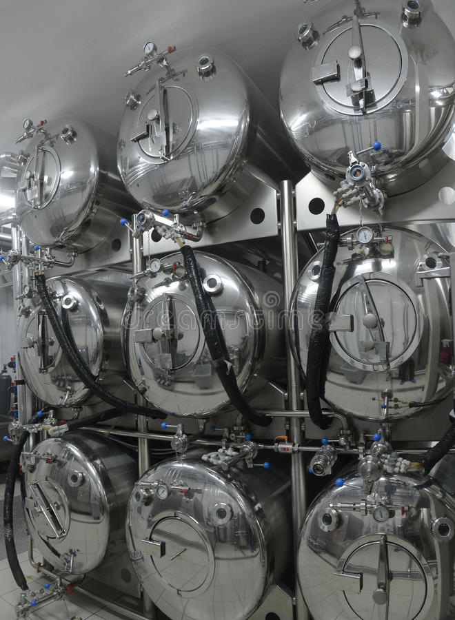 Tanks in microbrewery stock images
