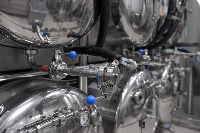 Tanks in microbrewery royalty free stock image