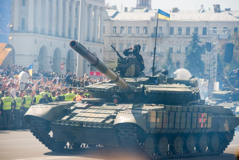 Tanks on military parade in Kiev, Ukraine. KIEV, UKRAINE - AUGUST 24, 2018: Military parade in Kiev, dedicated to the Independence Day of Ukraine, 27th stock images