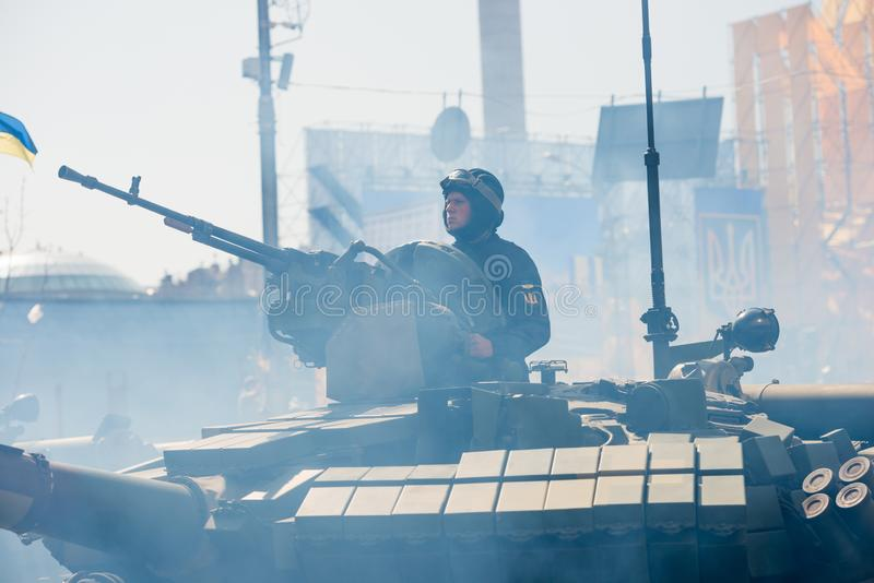 Tanks on military parade in Kiev, Ukraine. KIEV, UKRAINE - AUGUST 24, 2018: Military parade in Kiev, dedicated to the Independence Day of Ukraine, 27th royalty free stock image