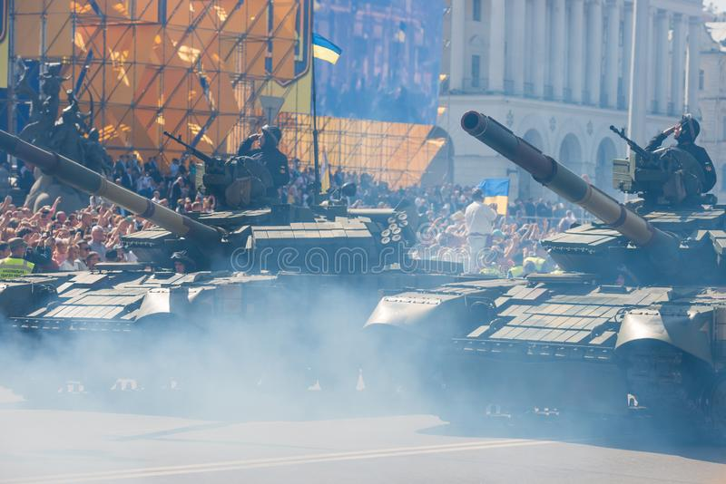 Tanks on military parade in Kiev, Ukraine. KIEV, UKRAINE - AUGUST 24, 2018: Military parade in Kiev, dedicated to the Independence Day of Ukraine, 27th royalty free stock photo