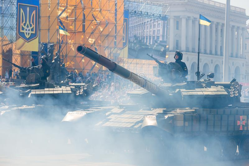Tanks on military parade in Kiev, Ukraine. KIEV, UKRAINE - AUGUST 24, 2018: Military parade in Kiev, dedicated to the Independence Day of Ukraine, 27th royalty free stock photography