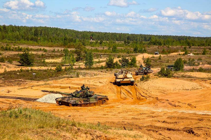 Tanks in military training Saber Strike in Latvia. Tanks Abrams in Latvia. International Military Training `Saber Strike 2017`, Adazi, Latvia, from 3 to 15 June royalty free stock photography
