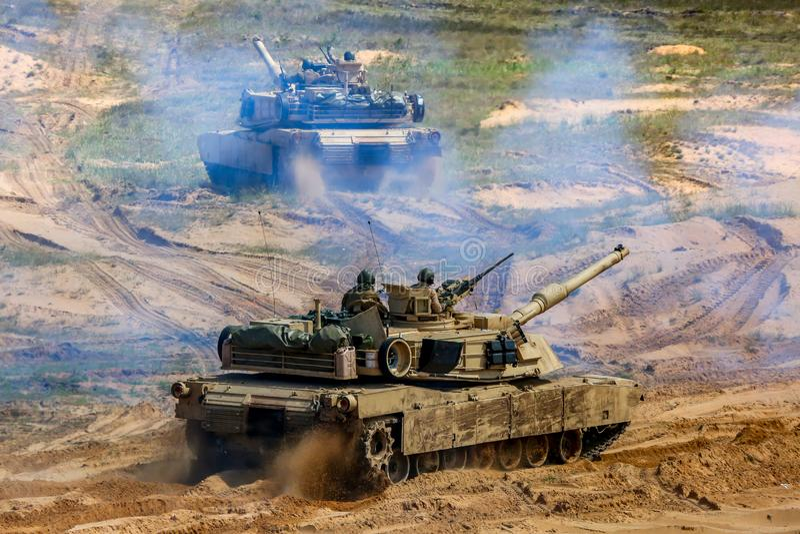 Tanks in military training Saber Strike in Latvia. Tanks Abrams in Latvia. International Military Training `Saber Strike 2017`, Adazi, Latvia, from 3 to 15 June royalty free stock image