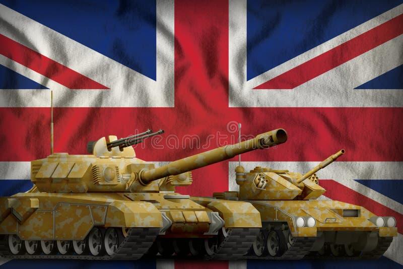 United Kingdom UK tank forces concept on the national flag background. 3d Illustration. Tanks with orange camouflage on the United Kingdom UK flag background royalty free illustration
