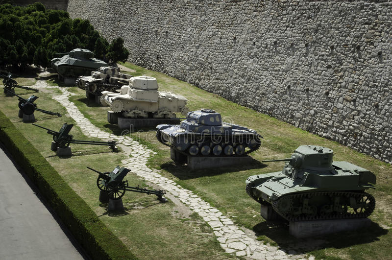 Tanks (Panzers) and cannons. Tanks, panzers and cannons from the first world war in military museum on medieval fortress of Kalemegdan Belgrade,Serbia royalty free stock photos