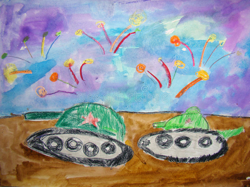 Tanks on parade - drawn by child stock illustration