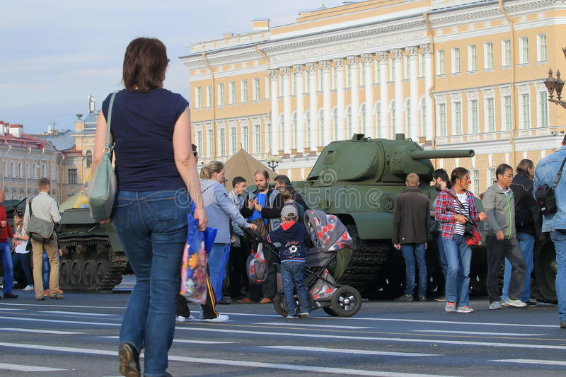 Tanks and people. Soviet tanks on military equipment exhibition. This tanks was involved in World War II. Restored by search engines. Palace Square. Saint stock photo