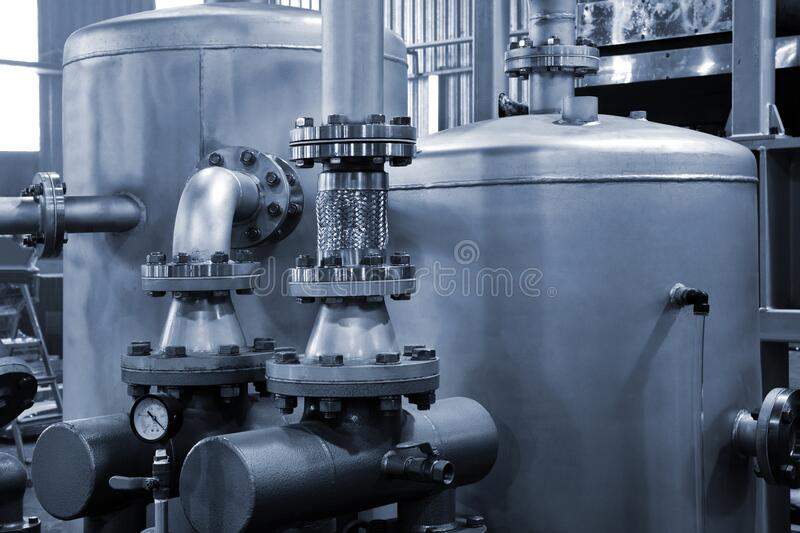 Tanks and pumps at modern plant royalty free stock images