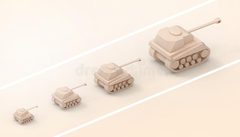 Tanks Sequence and military ideas and the power of the leader Concept Modern art and contemporary on Yellow paste Monotone vector illustration