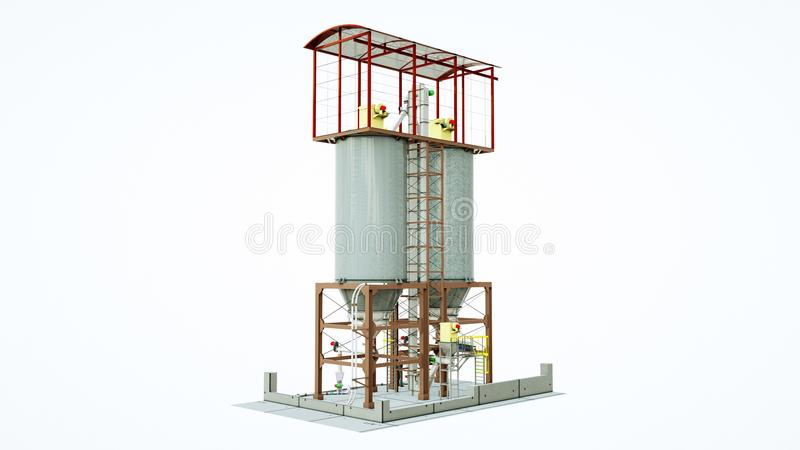 Tanks for the storage of grain granary. Silos construction. Isolate on white.  royalty free illustration