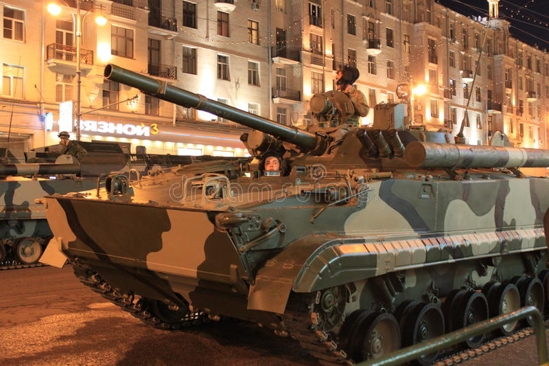 Tanks in the street of Moscow