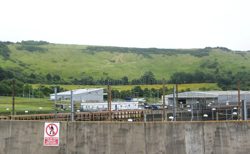 Tankstelle Folkestone Großbritannien Eurotunnel Le Shuttle lizenzfreie stockfotos