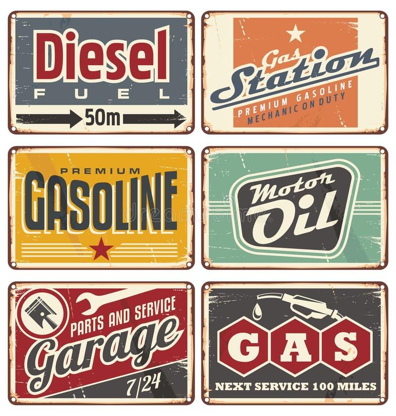 Tankstellen und Auto halten Weinlesezinnzeichen instand stock abbildung