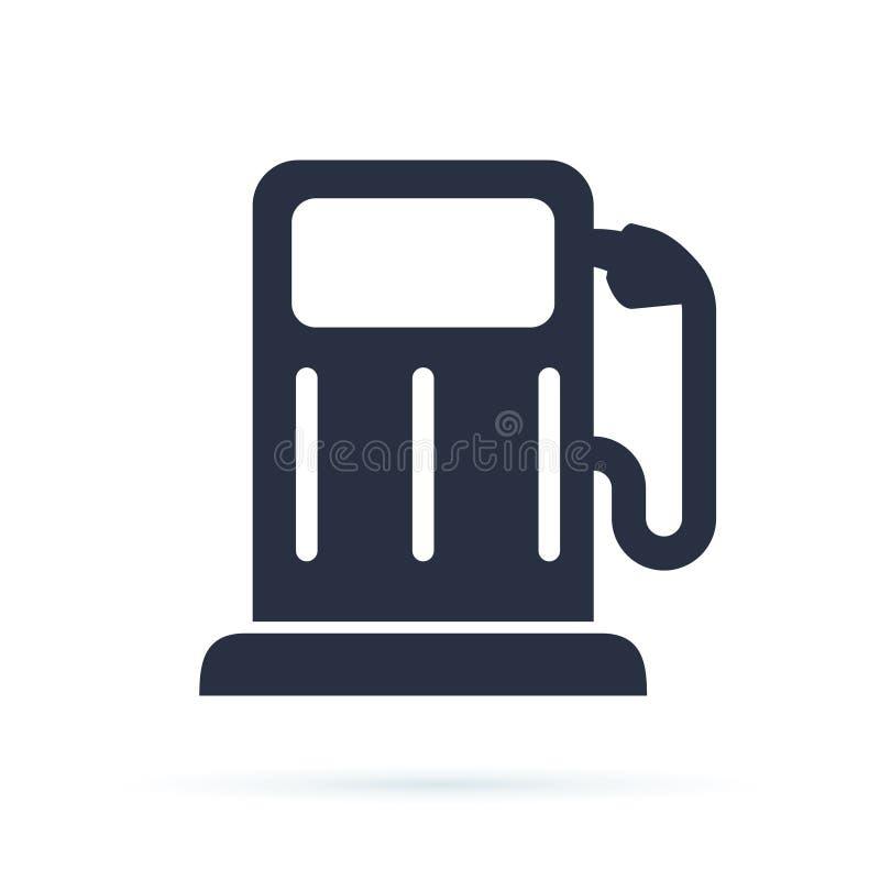 Tankstellesymbol Benzinpumpe, Treibstoffsymbol oder Energiezeichen Selbstladestationsikone Kraftstofftank mit Biobenzin stock abbildung