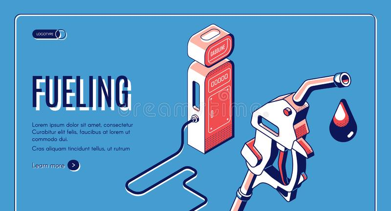 Tankujący, gaz, benzyna, oleju napędowego stacyjny isometric ilustracja wektor