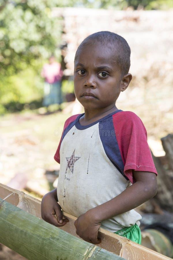 Tanna, Republic of Vanuatu, o 12 de julho de 2014, retrato de um menino foto de stock royalty free