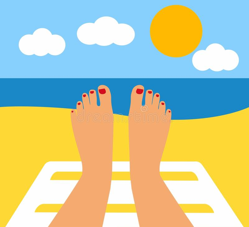 Free Tanned Feet And The Sea. Female Legs Against The Sea, Beach Royalty Free Stock Photography - 89402147
