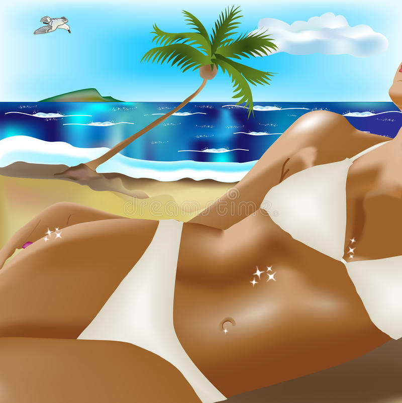 Tanned girl on beach royalty free illustration