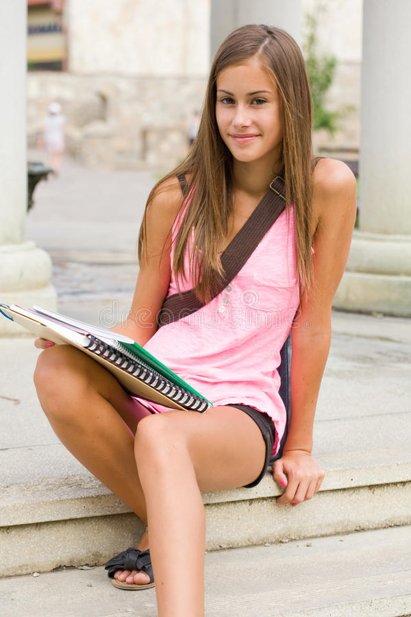 Download Tanned young student girl. stock photo. Image of high - 26332448