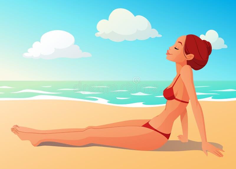 Tanned young woman having a sunbath on the beach. Tanned cute young woman having a sunbath on the beach. Bright summer seashore cartoon vector illustration stock illustration