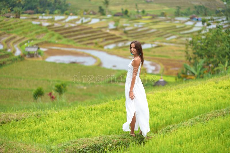 Tanned young woman posing on the background of rice fields royalty free stock photo