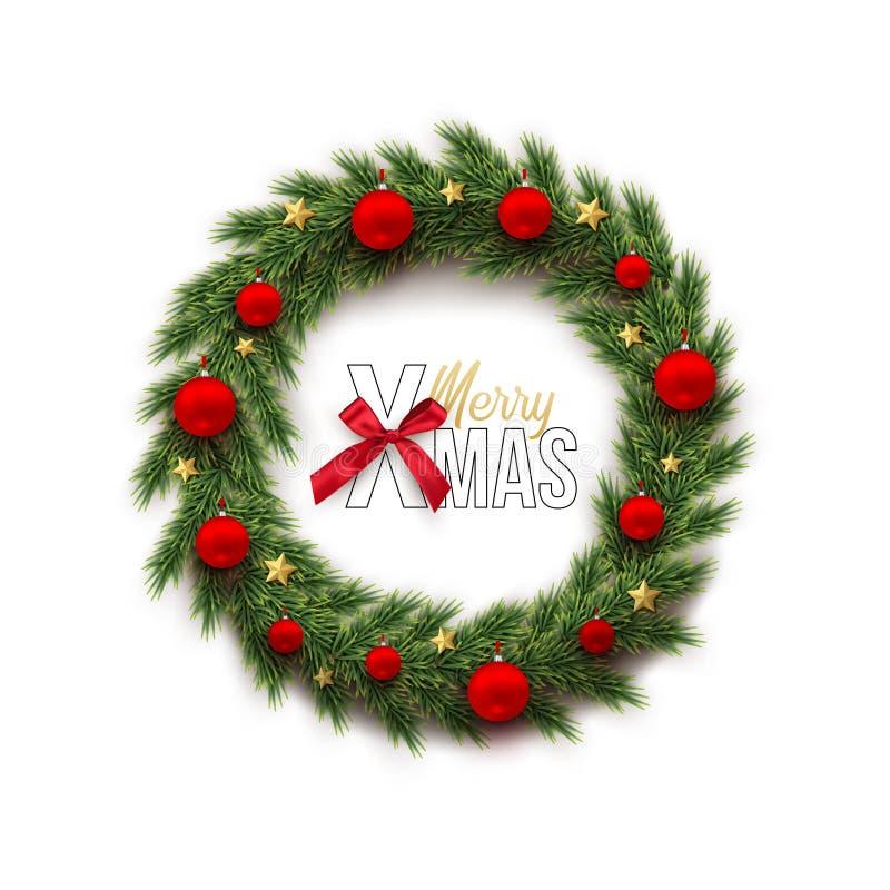 Tannenkranz mit roten Weihnachtsbällen und goldener Stern- und fröhlicherweihnachtstext mit dem Bogen lokalisiert auf weißem Hint lizenzfreie abbildung