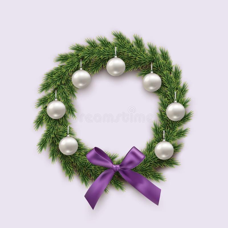 Tannenkranz mit silbernen Weihnachtsbällen und violetten dem Bogen lokalisiert auf weißem Hintergrund Einfach zu bearbeiten stock abbildung