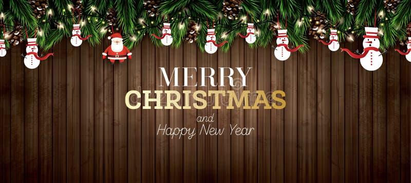 Tannenzweig mit Neonlichtern, Kiefern-Kegel, Santa Claus und Schneemann lizenzfreie abbildung
