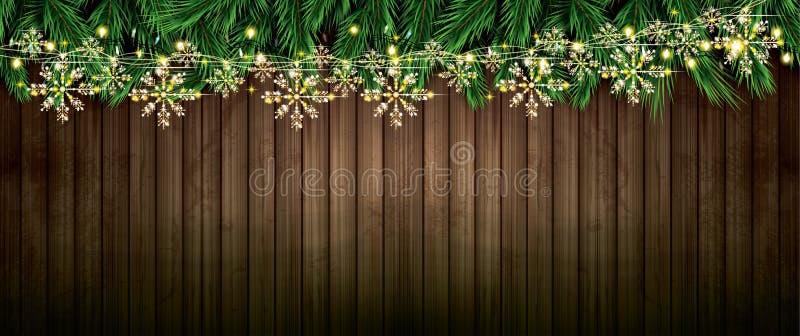 Tannenzweig mit Neonlichtern und goldener Girlande mit Schneeflocken O vektor abbildung
