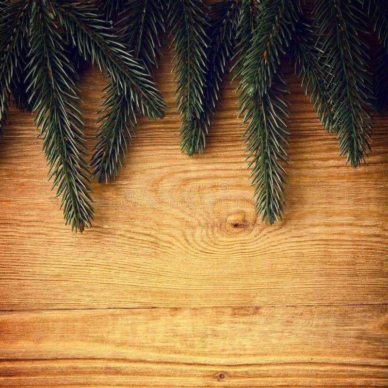 Tannenzweige Auf Holz Lizenzfreie Stockfotos