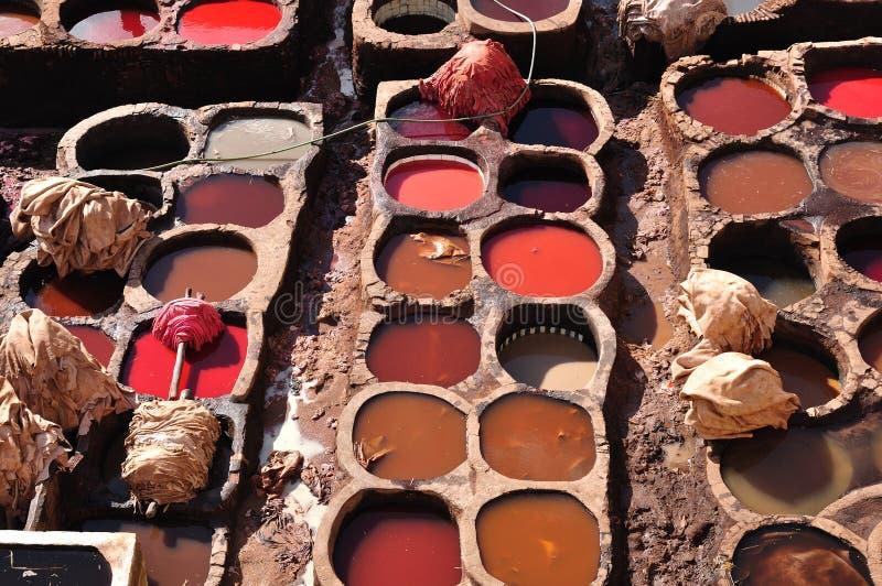 tannerie du Maroc de fes images stock