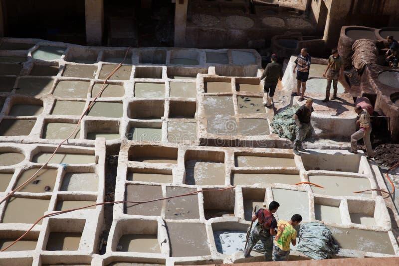 Tannerie en cuir, Fez, Maroc, 2017 image stock