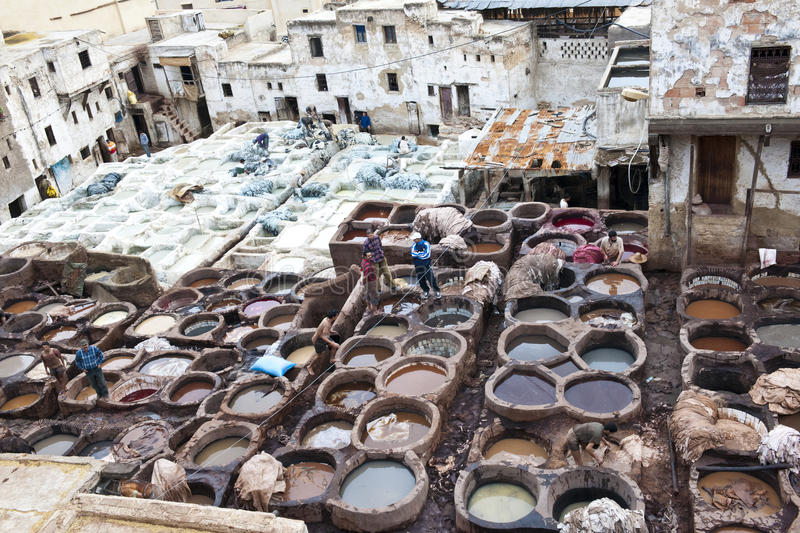Download Tanneries of Fes, Morocco editorial stock photo. Image of muslim - 28333138