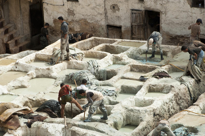Download Tanneries of Fes, Morocco editorial stock image. Image of tanning - 28353599