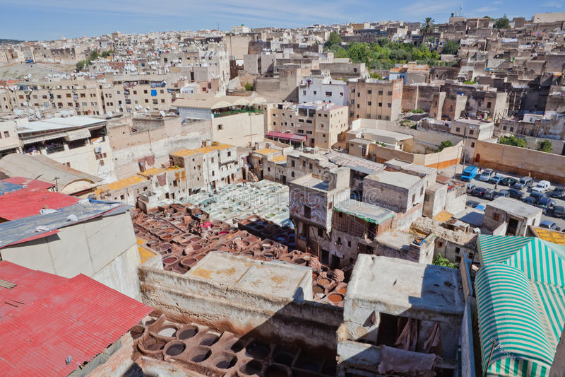 Tanneries, Fes Marrocos imagem de stock royalty free
