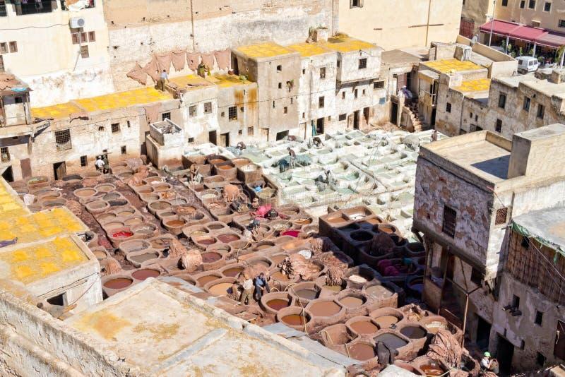 Tanneries, Fes Marrocos fotografia de stock