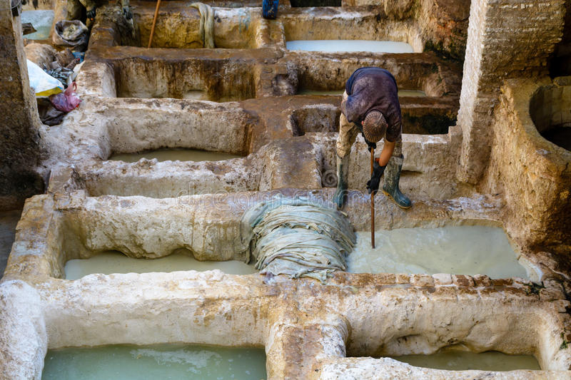 Tanneries in Fez, Morocco stock photos
