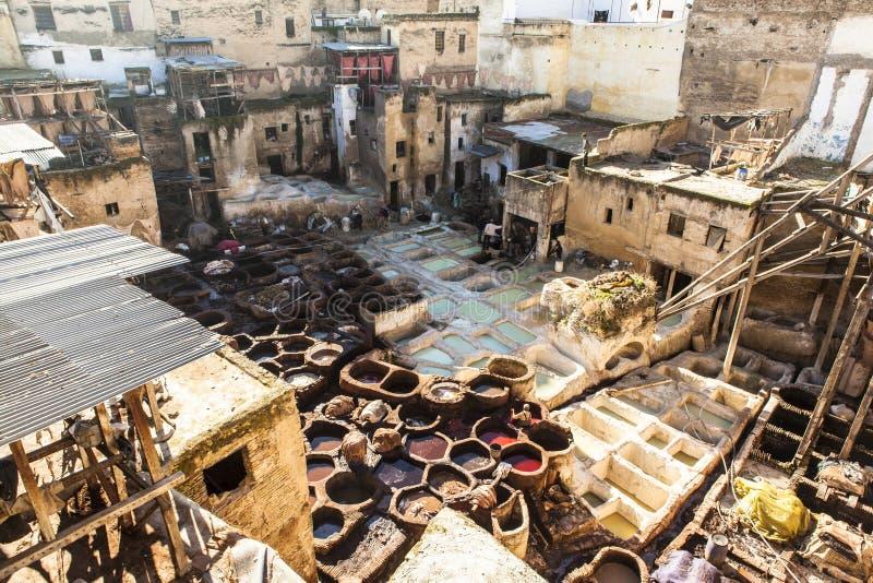 Tannery av Fez, Marocko arkivbilder