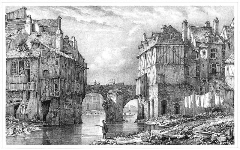 Tannery Bridge, Angers royalty free stock photography