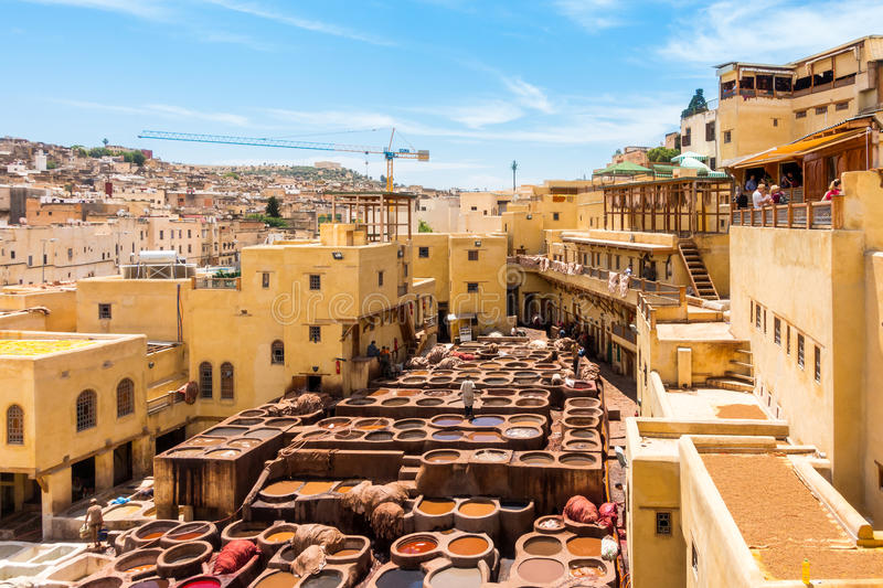 Tannery in Fez, Fes el Bali, Morocco, Africa stock image
