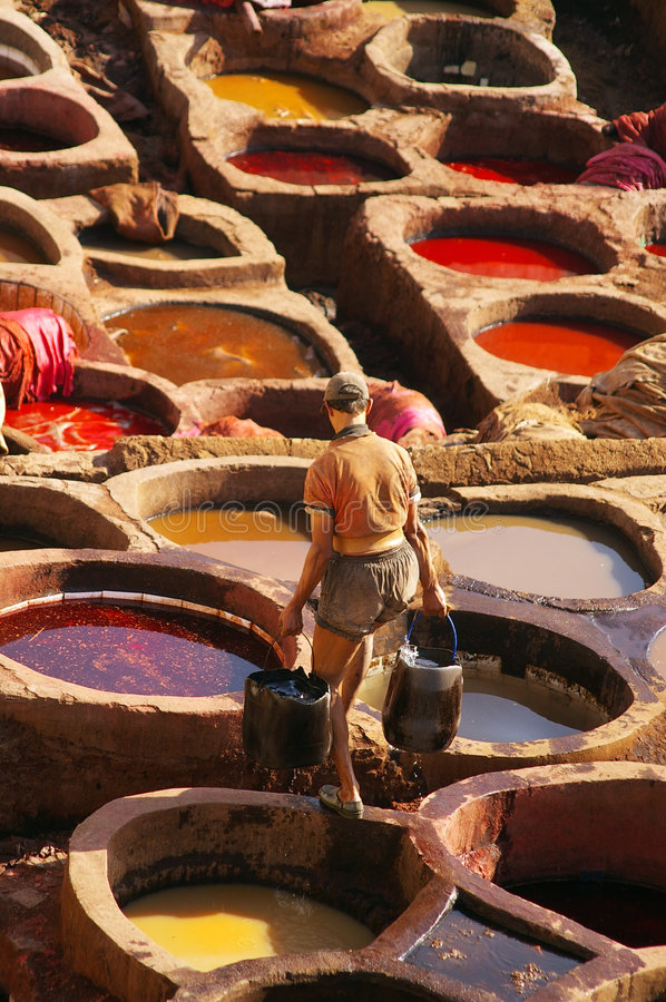 Tannery in Fez, Morroco stock image